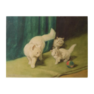White Persian Cat with Two Kittens Wood Print