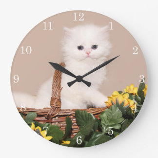 White persian kitten clock