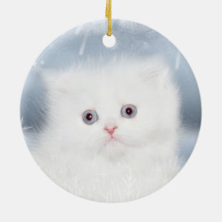White persian kitten face christmas ornament