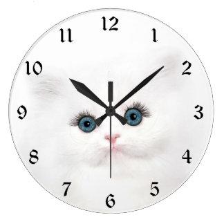 White persian kitten face large clock