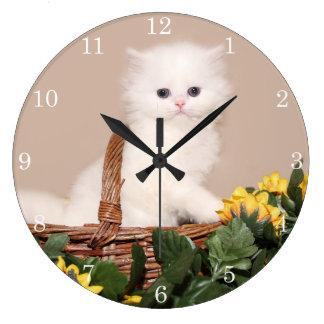 White persian kitten large clock