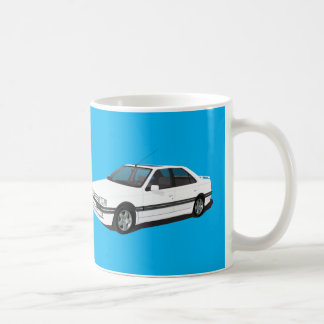White Peugeot 405 + model badge mug