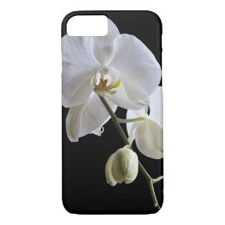 White Phalaenopsis Orchid on Black iPhone 8/7 Case