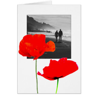 White Photo Frame with poppies Memorial Sympathy C Card