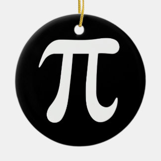 White pi symbol on black background christmas ornament