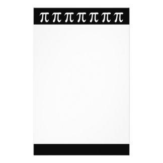 White pi symbol on black background customised stationery