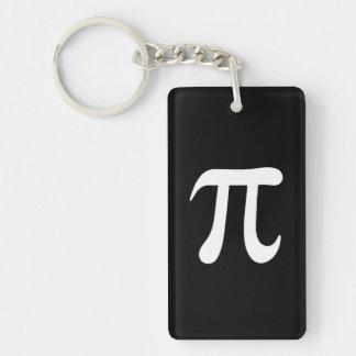 White pi symbol on black background Single-Sided rectangular acrylic key ring