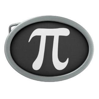 White pi symbol on black background oval belt buckles