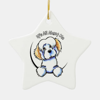 White Piebald Havanese IAAM Christmas Ornament