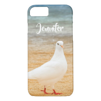 White Pigeon Bird Personalized Name iPhone 8/7 Case