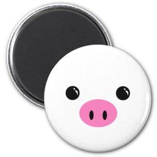 White Piglet Cute Animal Face Design Magnet