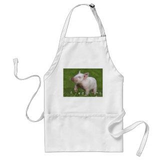 White Piglet Smelling Flowers Standard Apron
