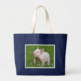 White Piglet Smells a Flower Large Tote Bag