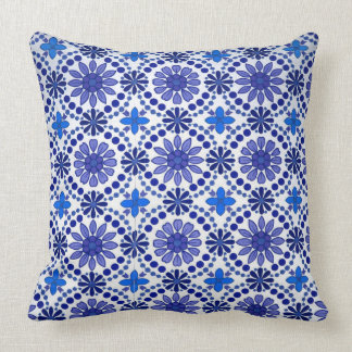 White pillow blue flowers