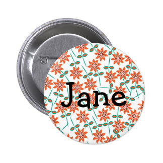 White Pillow with Red Flowers 6 Cm Round Badge