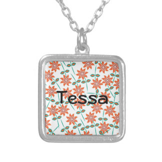 White Pillow with Red Flowers Square Pendant Necklace