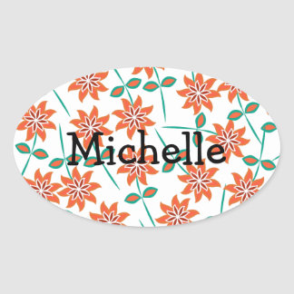 White Pillow with Red Flowers Oval Sticker
