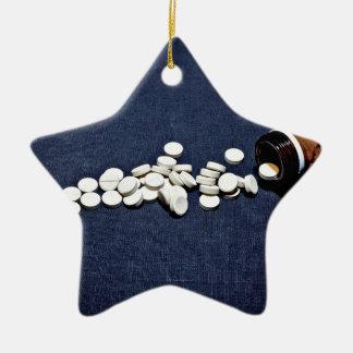 White pills glass bottle christmas ornament
