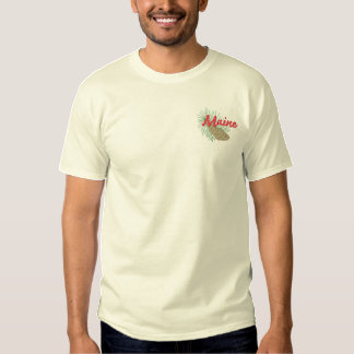 White Pine Cone and Tassel Embroidered T-Shirt