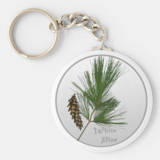 White Pine Tree Basic Round Button Key Ring