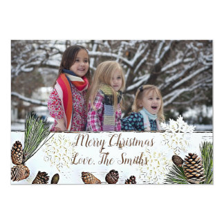White Pine Wood & Pine Cone Christmas Card