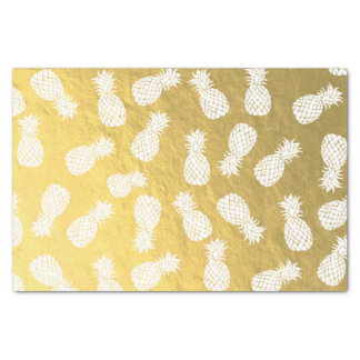 white pineapples on faux gold foil pattern tissue paper