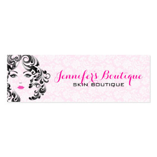 White Pink And Black Beauty Face Monogram 2 Pack Of Skinny Business Cards