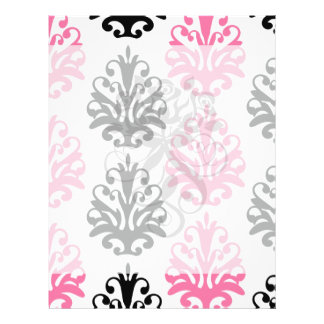 white pink and black chic damask full color flyer