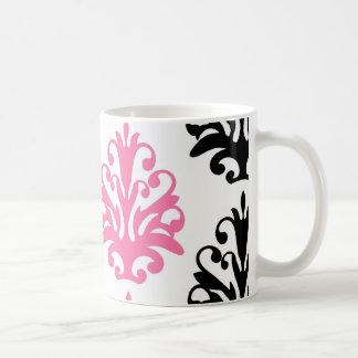 white pink and black chic damask coffee mugs