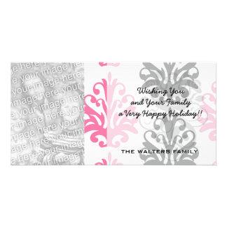 white pink and black chic damask custom photo card