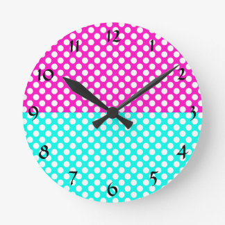 White, Pink and Blue Polka Dot Clock
