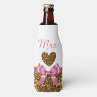 """White Pink and Gold Bottle Cooler Oozie """"Mrs"""""""
