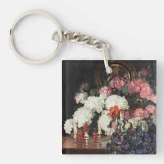 White PInk Blue Bouquet Oriental Statues Artwork Key Ring