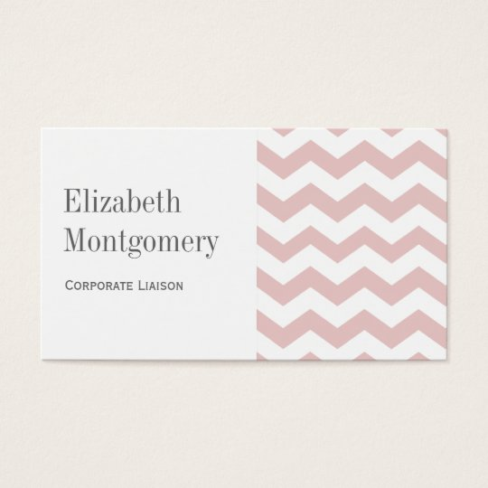 White & Pink Chevron Professional Business Card