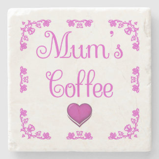 White Pink Coaster Mum's Coffee Heart and Roses