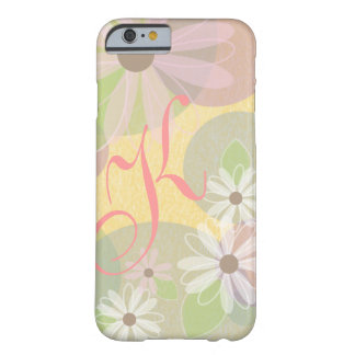 White & Pink Daisies & Colored Circles Monogram Barely There iPhone 6 Case