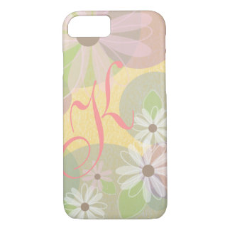 White & Pink Daisies & Colored Circles Monogram iPhone 7 Case