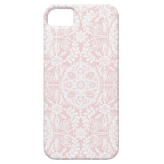 White & Pink Damask Vintage Barely There iPhone 5 Case