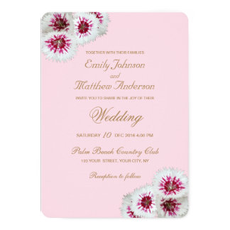 White & Pink Floral Ombre Wedding Invitation