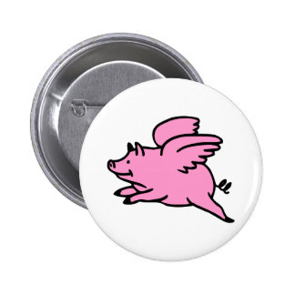 White Pink Flying Pig Button