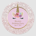 White Pink Gold Glitter Glam Unicorn Party Favour Classic Round Sticker