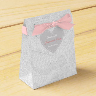 White Pink Gray Lace Wedding Favor Thank You Favour Box