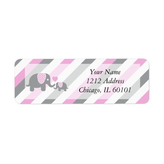 White, Pink & Grey Stripe Elephants Baby Shower