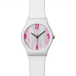 White Pink Hot Pink Breast Cancer Watches