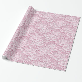 White & Pink Lace Texture Wrapping Paper