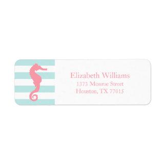 White Pink Mint Stripes Seahorse