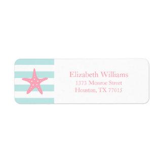 White Pink Mint Stripes Starfish