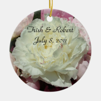 White Pink Peonies Bride & Groom Ornament