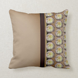 White Pink Peony accent Tan Brown Cushion