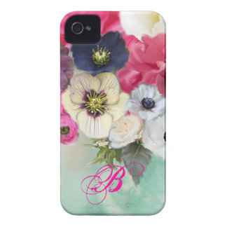 WHITE PINK ROSES AND ANEMONE FLOWERS MONOGRAM Case-Mate iPhone 4 CASES
